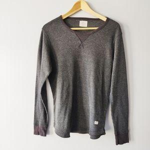 Frank & Oak grey thermal waffle shirt